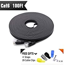Cat 6 Ethernet Cable 100ft Black (At a Cat5e Price but Higher Bandwidth) Flat Internet Network Cables - Cat6 Ethernet Patch Cable - Cat6 Computer Lan Cable With Snagless RJ45 Connectors