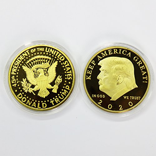 (2 Pack The Official 2020 Gold Donald Trump Commemorative Coin, 24K Gold Plated Collectible Eagle Coin,Commemorative Coin & Fit Display Case 45th President of The United States | Keep America Great!)