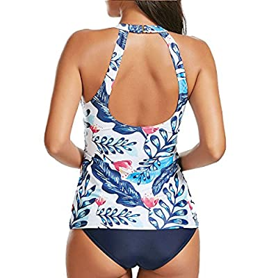 Holipick Women Tankini Swimsuit High Neck Halter Tummy Control Two Piece Bathing Suit at Women's Clothing store