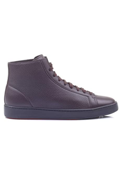 reputable site d3db3 172cb SANTONI Scarpe Uomo Sneaker Alta Allacciata Pelle Marrone ...