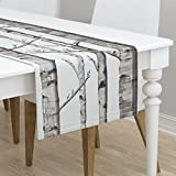 Table Runner - Birch Grove Black and White Grey Aspen Gray Modern Woods by Willowlanetextiles - Cotton Sateen Table Runner 16 x 72