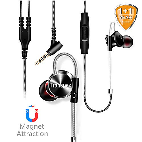 Earbuds Transpex W3 Magnetic In Ear Earphones Tangled Free Wired 3.5mm Golden Plated Plug Noise Isolating With Mic Stereo Bass Sweatproof For Sports, iPhone X/8/8 plus/7/7 plus/6/6s, (Golden Plated Plug)