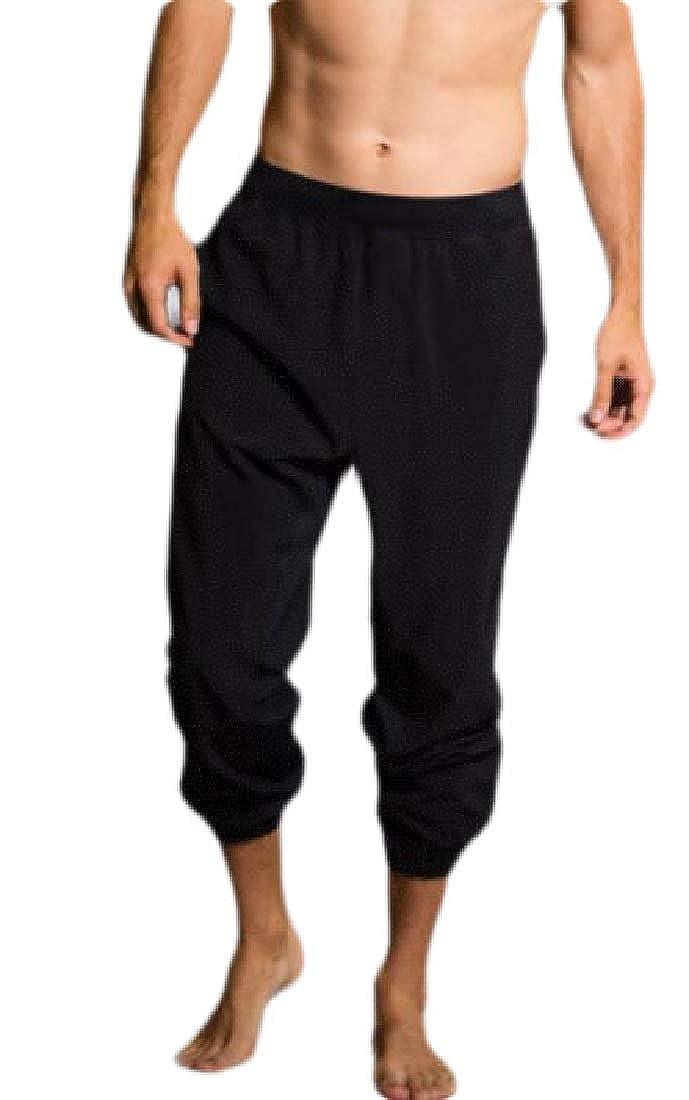 BYWX Men Victorian Classic Solid Color Elastic Waist Jogger Gothic Long Pants