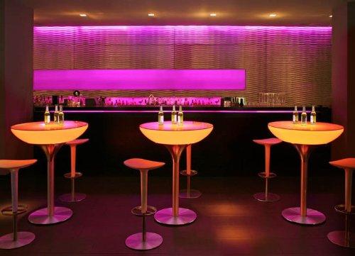 Stehtisch Lounge 105 LED Pro Leuchttisch Rundtisch Bartisch by Moree, Tischplatte:mit Glasplatte;Farbsteuerung:RC-Fernbedienung