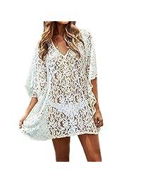 Yingniao Women's White Lace Beach Swimsuit Cover Up Dress Bikini Swimwear Dress