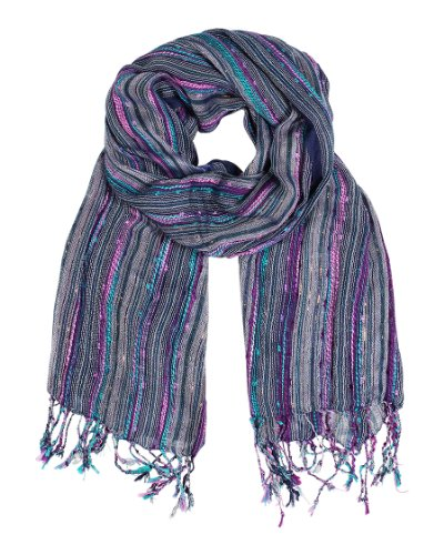 Women's Festival Bliss Shimmer Boho Chic Fashion Scarf with Tassels (Blue)
