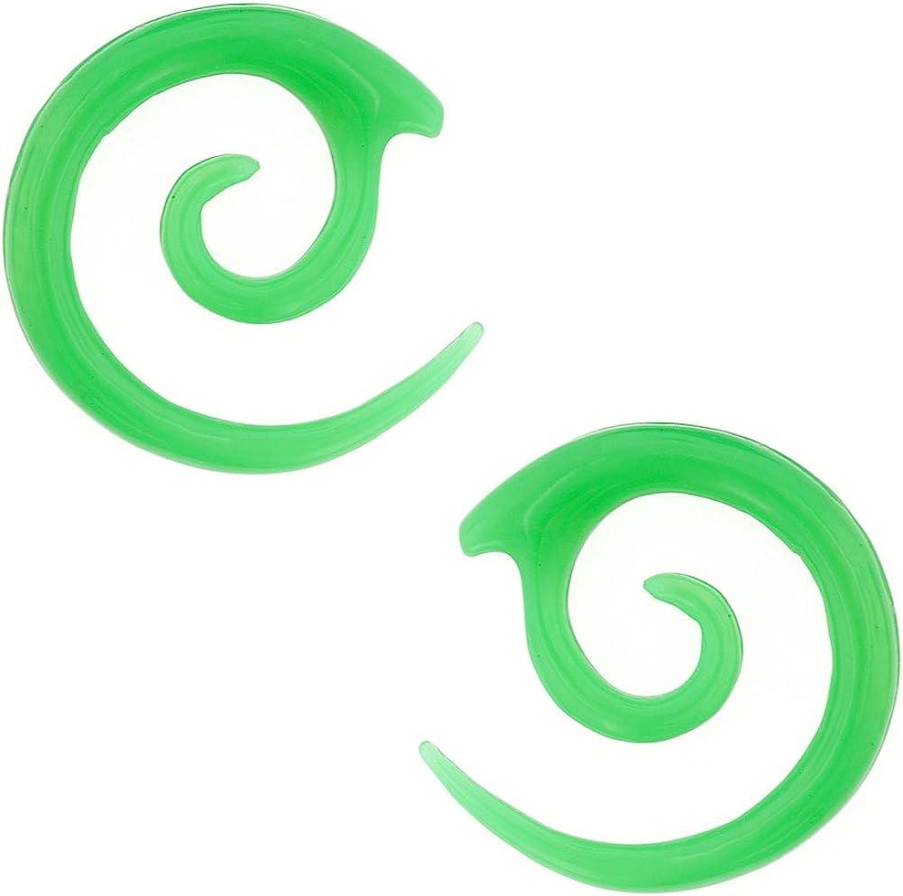 12g Green Steel Navel Body Jewelry Pair of Acrylic Twirls