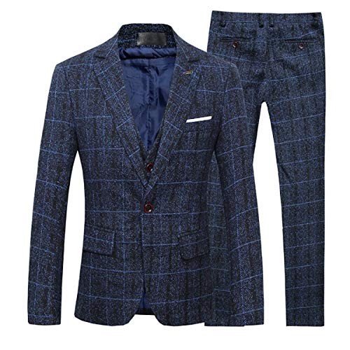 Men's 3-Piece Suit Plaid Slim Fit One Button Single-Breasted Wedding -