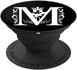 PopSockets Grip Letter M White Initial M On Black Background - PopSockets Grip and Stand for Phones and Tablets