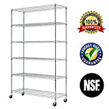 """6 Shelf Commercial Wire Shelving Rack,Chrome Steel Shelf 48"""" W x 18"""" D x 82"""" H Adjustable Storage Metal Rack With Casters And Feet Levelers,Garage Rack, Storage Shelving Rack,Kitchen Rack,Office Rack"""