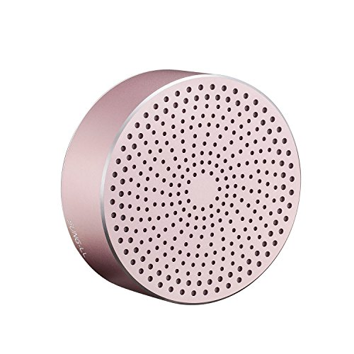 SUNG-LL U8 Portable Mini Speaker, Pocket Size Metal Wireless Speaker, Bass Speaker Built in mic for iPhone, iPad, Samsung,Huawi Phone, Laptop, PC (Rosegold)