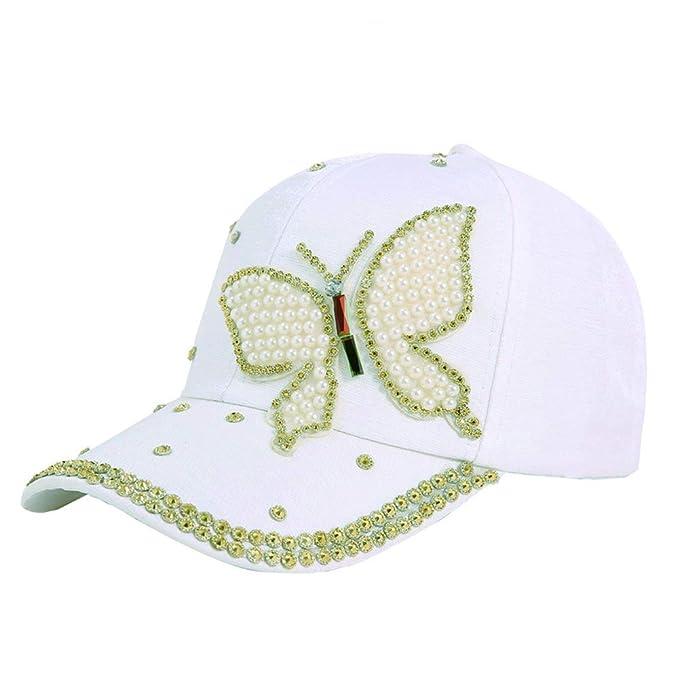 Gysad Patrón de Mariposa Gorras Planas Perla de imitación Sombrero Mujer Cómodo y Transpirable Gorras Mujer