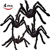 Four Halloween Realistic Hairy Spiders Set, Valuable Halloween Props, H (Small Image)