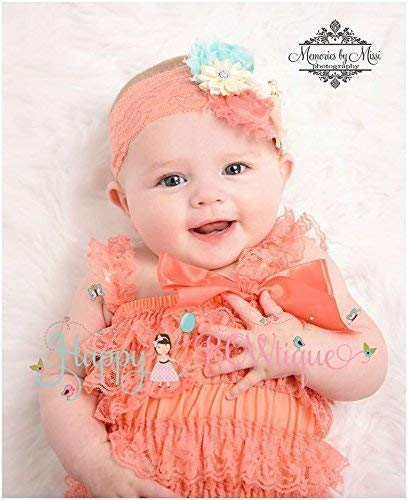 95cad83b7 Amazon.com: Baby Girl Coral Petti Lace Romper Set, Baby Girl Coral ...