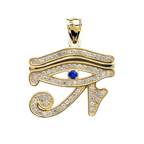10k Yellow Gold Diamond and Sapphire Egyptian Eye of Horus Pendant