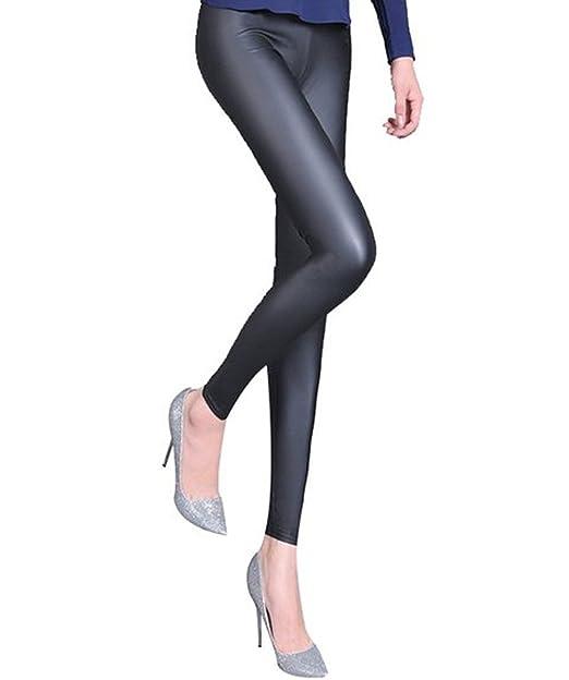 a6e6926a4b A-Express Pantalones negro brillante aspecto mojado de piel sintética  leggings de longitud completa  Amazon.es  Ropa y accesorios