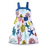 VIKITA Girls Summer Blue Seashell Sundress Short Sleeve Casual Cotton Dress LB173005 6T
