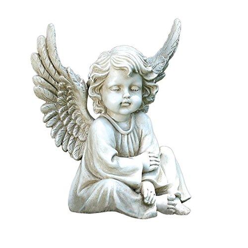 Napco Sitting Angel Statue, 9-3/4-Inch Long - Sitting Angel Garden Statue
