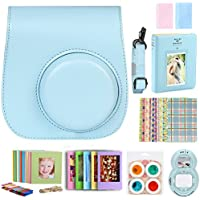 For Fujifilm Instax Mini 9 8 8+ Instant Film Camera Accessories Bundle, Case Blue/ Mini Album/ Selfie Lens/ 4 Color Filters/ Hanging Frames/ Table Frame Set/ Stickers/ 2 Cloth. By SAIKA (Blue)