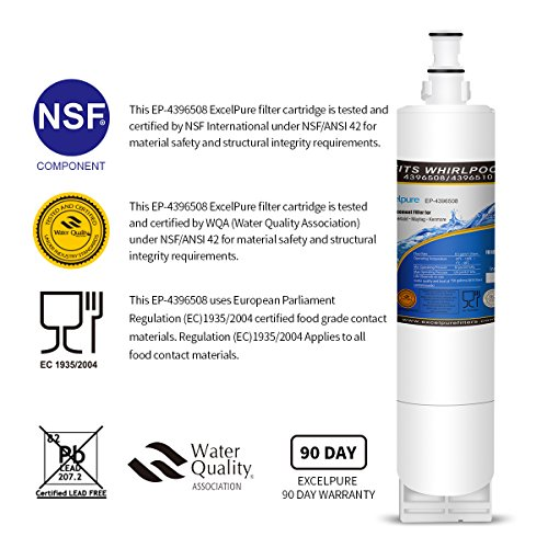Excelpure Premium Refrigerator Water Filter Cartridge for Whirlpool 4396508, 4396510, KitchenAid, Kenmore, Thermador, 4396508P 4392922 Maytag 8212652 8212491, 4396509, 4396509P (2 PACK) by EXCELPURE (Image #1)