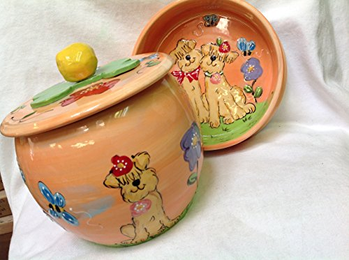 10'' Golden Doodle Pet Bowl for Food or Water and Treat Jar. Personalized at no Charge. Signed by Artist, Debby Carman. by Faux Paw Productions, Inc., Laguna Beach, CA