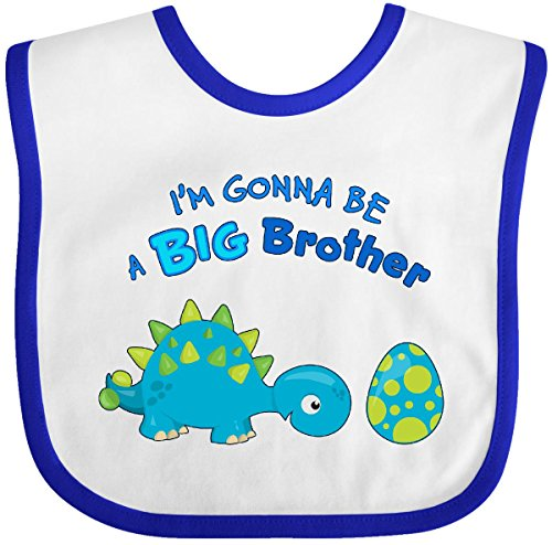 Inktastic - Happy Dinosaur Future Big Brother Baby Bib White/Royal 283cc ()