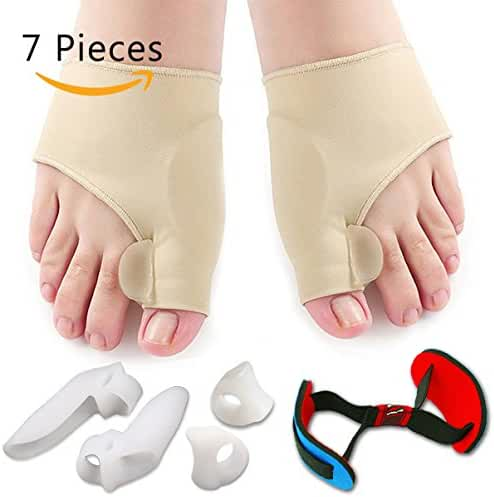 Bunion Corrector & Bunion Relief Protector Sleeves Kit - Treat Pain in Hallux Valgus, Tailors Bunion, Big Toe Joint, Hammer Toe, Toe Separators Spacers Straighteners splint Aid surgery treatment