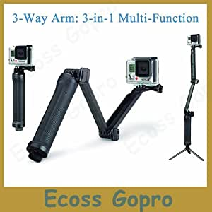 ARBUYSHOP GoPro 3 vías que dobla el brazo del trípode de Monopod de mano de agarre del palillo para GoPro héroe Hero3 4 + 3 héroe / SJ4000 / Xiaomi yi Accesorios de montaje