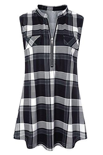 - Luranee Business Casual Blouses for Women, Misses Career Tops Sleeveless Buffalo Shirts Sophisticated Skillful Graceful Sturdy Exquisite Polyester Office Tank Tops for Ladies Black Plaid Large
