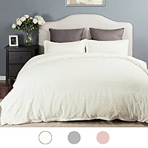 Duvet Cover Set with Zipper Closure Ivory Full/Queen Size(90