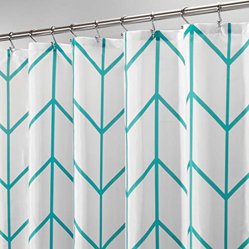 mDesign Decorative Chevron Zig-Zag Print - Easy Care Fabric Shower Curtain with Reinforced Buttonholes, for Bathroom Showers, Stalls and Bathtubs, Machine Washable - 72
