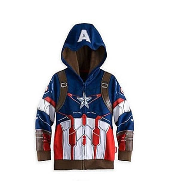 B-Creative - Felpa con Cappuccio - Ragazzo Captain America 110 cm (3- 19cca1f1b87a