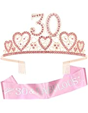 30th Birthday Pink Tiara for women, 30th Birthday Sash and Crown, 30th Sash Birthday women, Birthday Gifts for 30 year old women, 30th Birthday Party Supplies, 30th Birthday Gifts for women