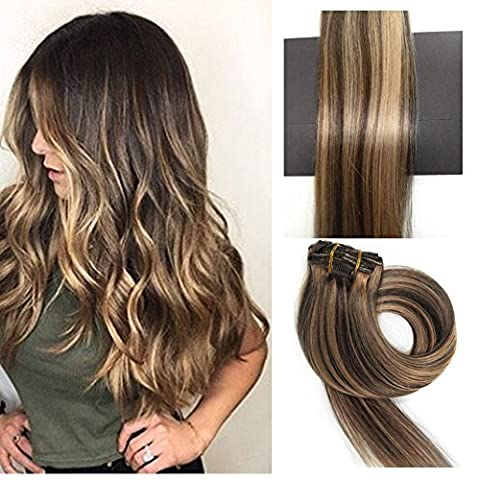 TheFashionWay Brazilian Human Hair Extensions Clip in Silky Straight Weft Remy Hair (15 inches, - Colored Feather Earrings