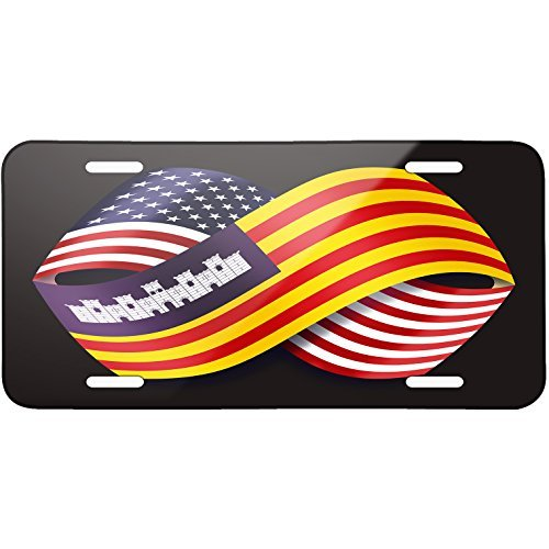 Friendship Flags USA and Balearic Islands region Spain Metal License Plate 6X12 Inch by Saniwa