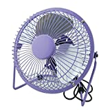 Mini USB Table Desk Personal Fan (Metal Design, Quiet Operation 3.9' USB Cable, High Compatibility) (purple)
