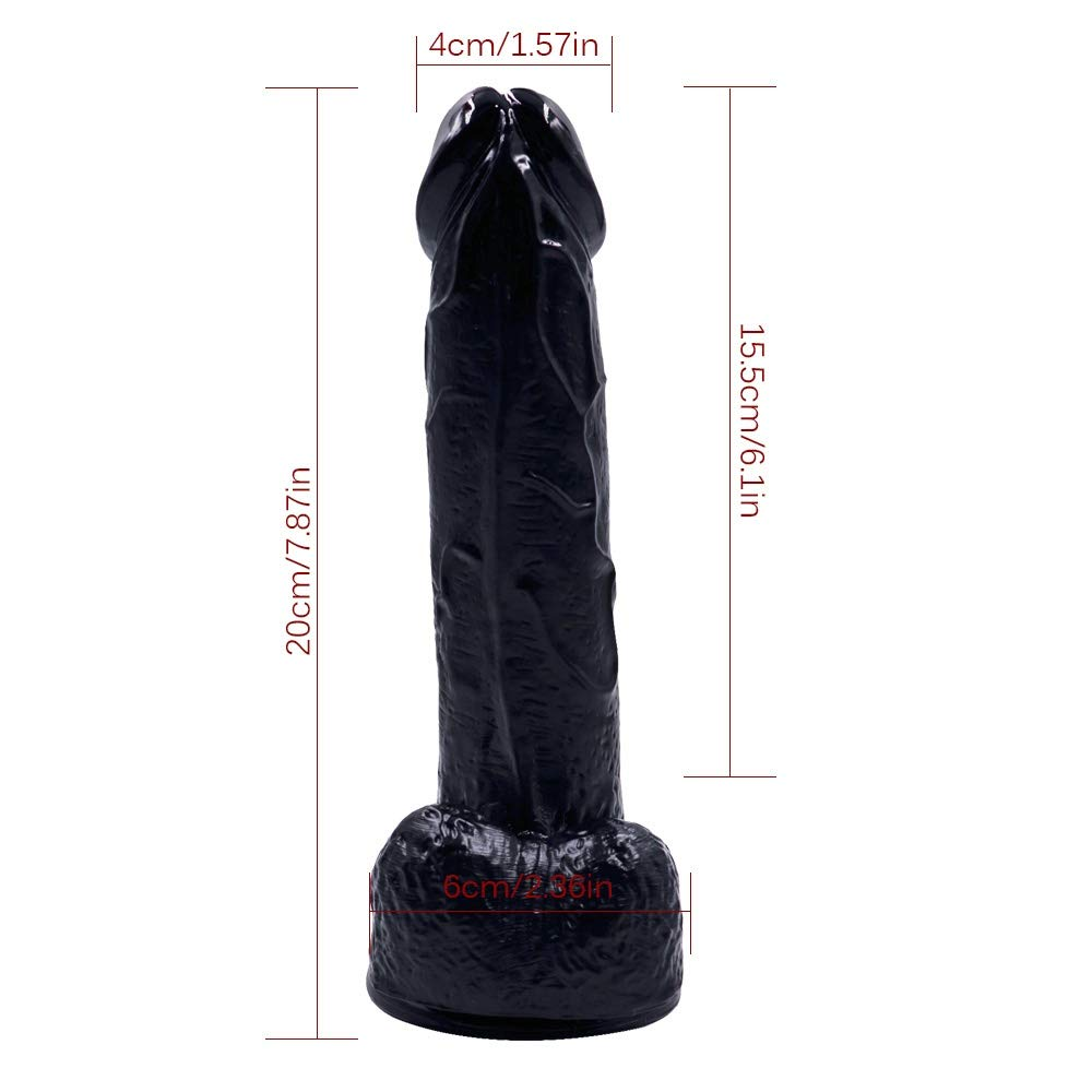 Plswg Jtybda Silicona de Dos Capas con testículos regordetas, de consolador Anal de regordetas, pene de Enchufe Dong Real,20cm, Black 91b54b