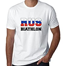 Hollywood Thread Russian Biathlon - Winter Olympic - RUS Flag Men's T-Shirt
