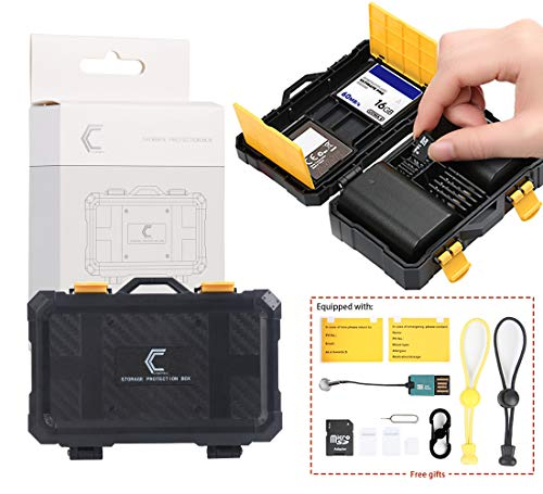16 slots SD TF CF XQD Memory Card protection box, Nikon Canon GoPro Camera Battery Storage Case with Carabiner, TF card Reader, SD Adapter, Media management, Waterproof & Shockproof, photos & video
