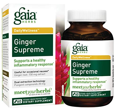 Gaia Herbs Ginger Supreme, Vegan Liquid Capsules, 60 Count - Organic Ginger Root and Turmeric Curcumin Supplement For Healthy Inflammatory Response, Digestion and Occasional Nausea