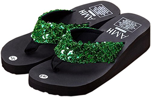 bettyhome Women Sexy Fashion Sequins Comfortable Thongs Casual Wedges Sandals Beach Flip Flops Slippers Green bz26aYuM5