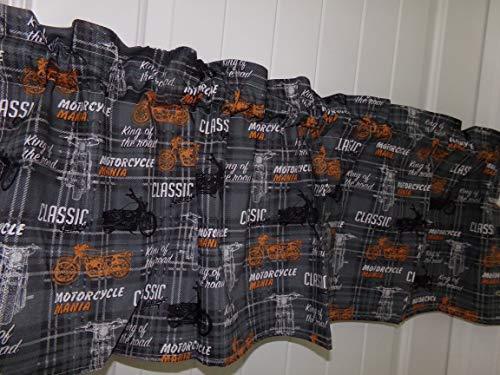Gray and orange Motercycle Bike Curtain Valance