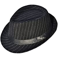 Halconia Classic Gangster Stain Resistant Crushable Fedora, Black Stripe