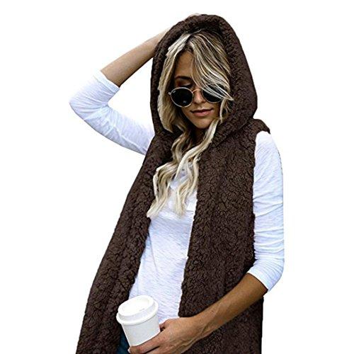 Chaleco Cálido Mujer Sintética Capucha Abrigo Piel Zip para de Culater Casual con Up Café Outwear tdqSTtx