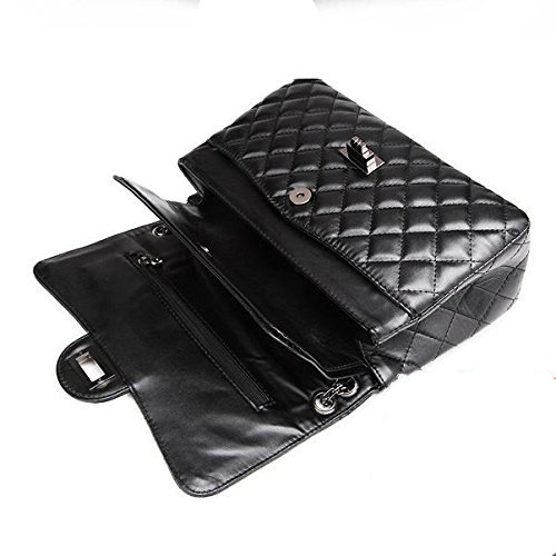 Shoulder Bag Chain Handbag Twist Large Gold Lock Black2 Fashion Womens Quilted Plaid body Cross BqwvExf