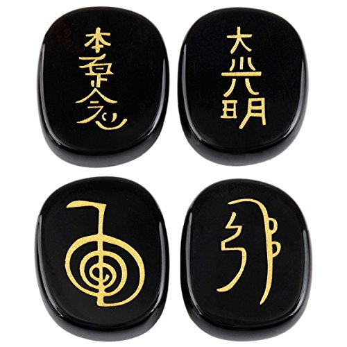 mookaitedecor 4 Piece Black Agate Stones Engraved Chakra Symbols Polished Palm Stones for Reiki Crystal -