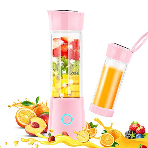 Portable Blender,BMOSTE Personal Blender Smoothie Single Serve for Shakes and Smoothies USB Rechargeable 16oz Fruit Mixer Juicer Cup with Ice Tray,Travel Lid,Recipe ()
