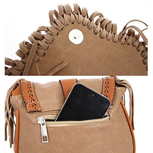Holiday Style Festival Handbag Tassel Skyblue Top Bag Women Flap Mini Retro Bag with Hippy Cross Saddle Purse Body for fRBwqpT