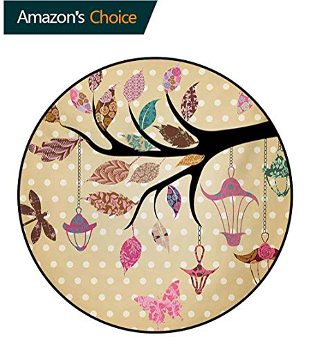 - RUGSMAT Dragonfly Small Round Rug Carpet,Tree Branch with Original Lantern and Ethnic Leaves On Polka Dots Backdrop Ethnic Door Mat Indoors Bathroom Mats Non Slip,Diameter-35 Inch