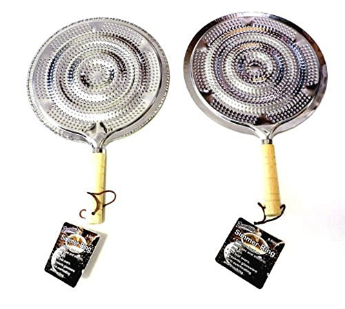 (2 Simmer Ring Flame Heat Diffuser with Wooden Handle 2 Pack)